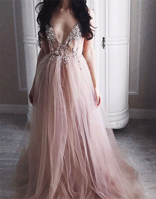 A-line v neck tulle long prom dress, champagne tulle evening dress