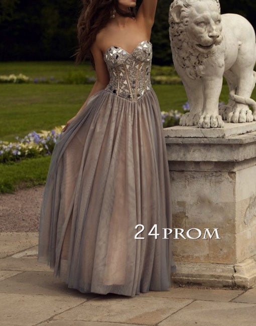 Gray Sweetheart neckline Long Prom Dresses, Evening Dresses