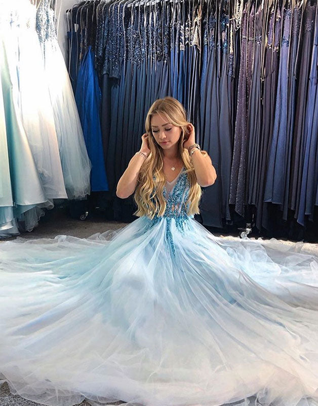 Light blue v neck tulle sequin long prom dress, blue formal dress