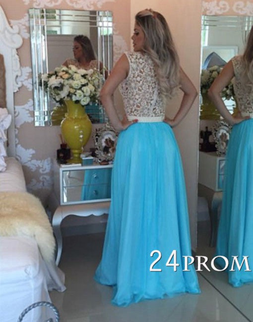 Round Neck Lace Pearl Blue Long Prom Dress, Evening Dress