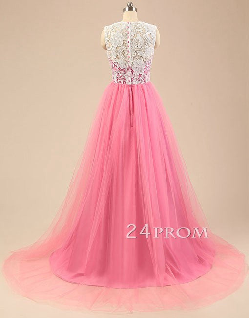 Pink tulle lace long prom dresses, wedding dress