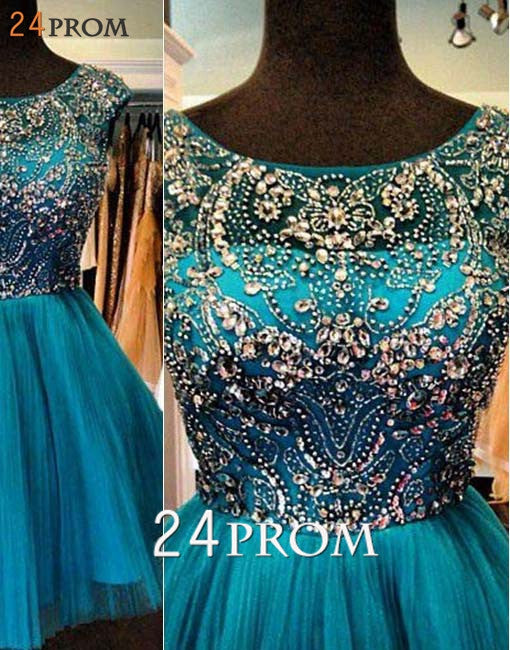 Green A-line Tulle Sequin Short Prom Dress, Homecoming Dress
