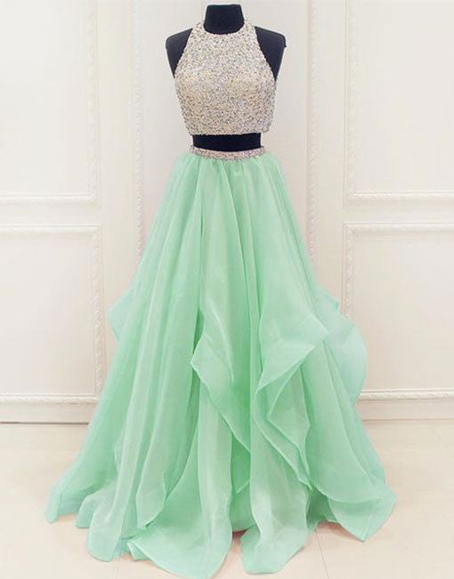 Green two pieces tulle long prom dresses, green evening dress