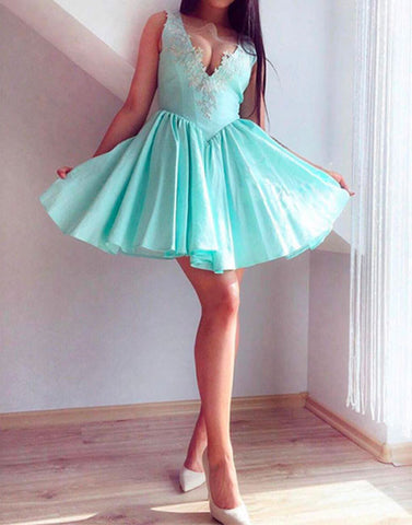 green v neck lace short prom dress, cute homecoming dress
