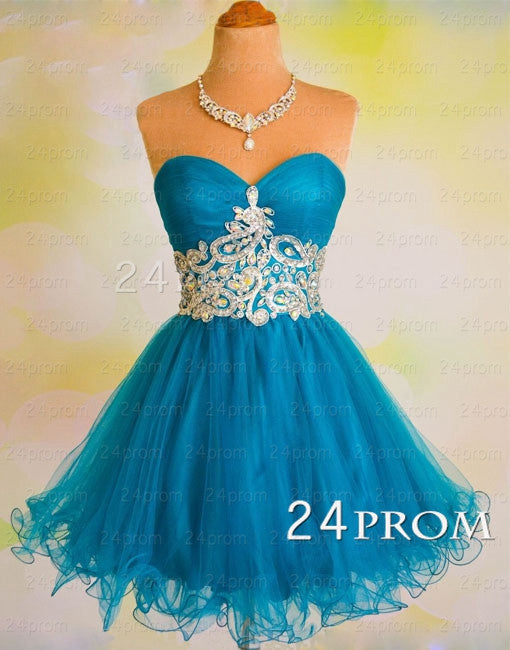 A-line Sweetheart Tulle Short Blue  Prom Dress, Homecoming Dresses