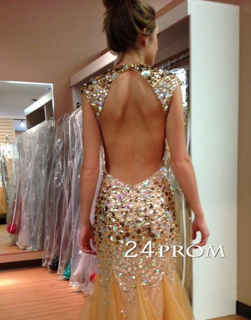 Custom Made A-line Backless Tulle Long Prom Dresses, Evening Dress