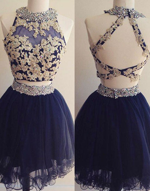 Dark Blue Tulle Lace 2 Pieces Short Prom Dress Homecoming Dress