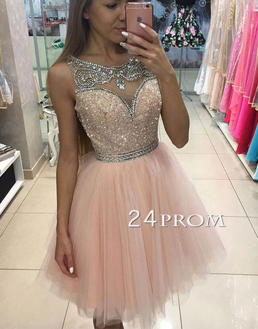 Custom made pink tulle short prom dress, pink homecoming dress
