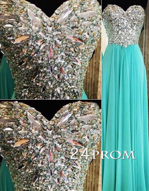 Sweetheart Green A-line Chiffon Long Prom Dresses, Formal Dresses