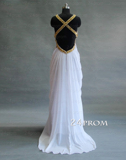 Attractive Sexy Chiffon Long White Prom Dresses, Backless White Prom Dress