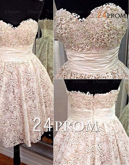 Sweetheart White A-line Lace Short Prom Dress,Homecoming Dress
