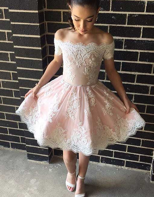 Cute lace pink short prom dress, pink homecoming dress