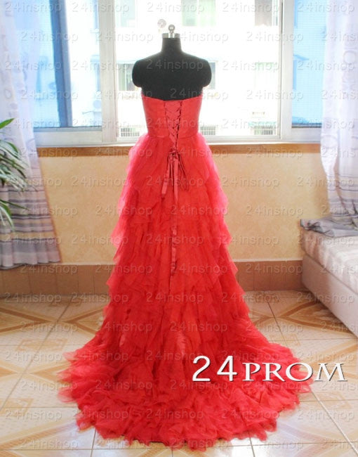 A-line Sweetheart Red Tulle Long Prom Dresses, Formal Dresses