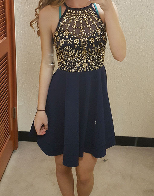 Dark blue round neck rhinestones short prom dress, cute homecoming dress