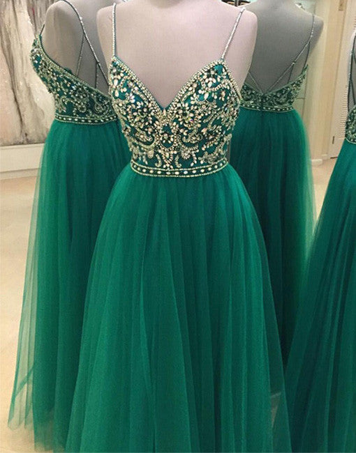 Green sweetheart tulle sequin long prom dress, green evening dress