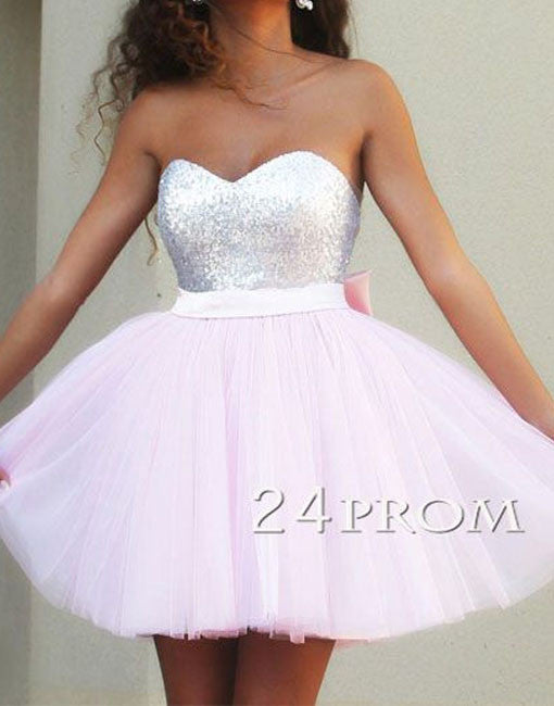 Pink Sweetheart Tulle Sequins Short Prom Dress, Homecoming Dress