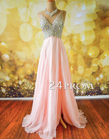 Pink V neckline Chiffon Long Prom Dresses, Evening Dress