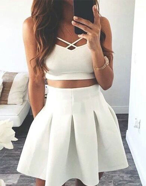 Cute white two pieces short prom dress, white evening dresses