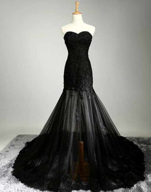 black sweetheart neck lace tulle long prom dress, black evening dress