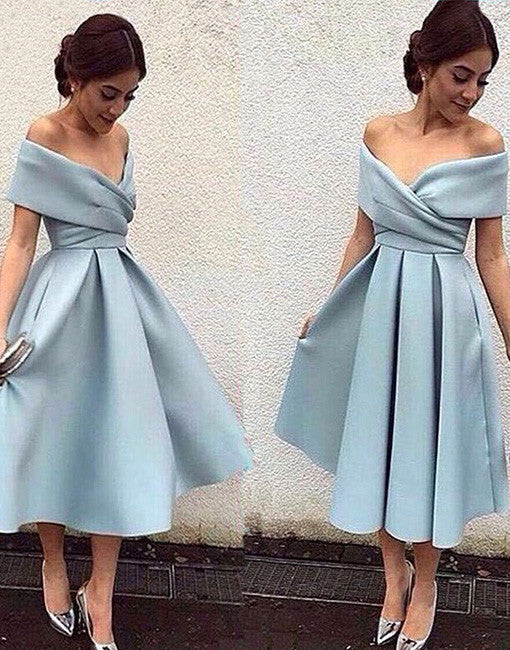 Simple blue short prom dress, retro prom dresses, evening dress
