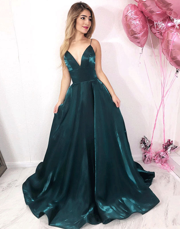 Simple green satin long prom dress, green evening dress
