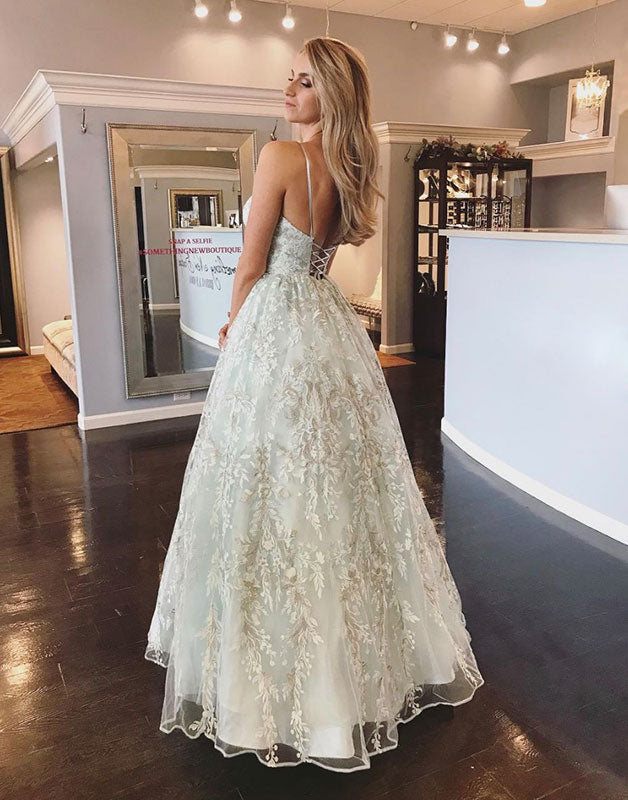 Unique tulle lace long prom dress, backless long evening dress