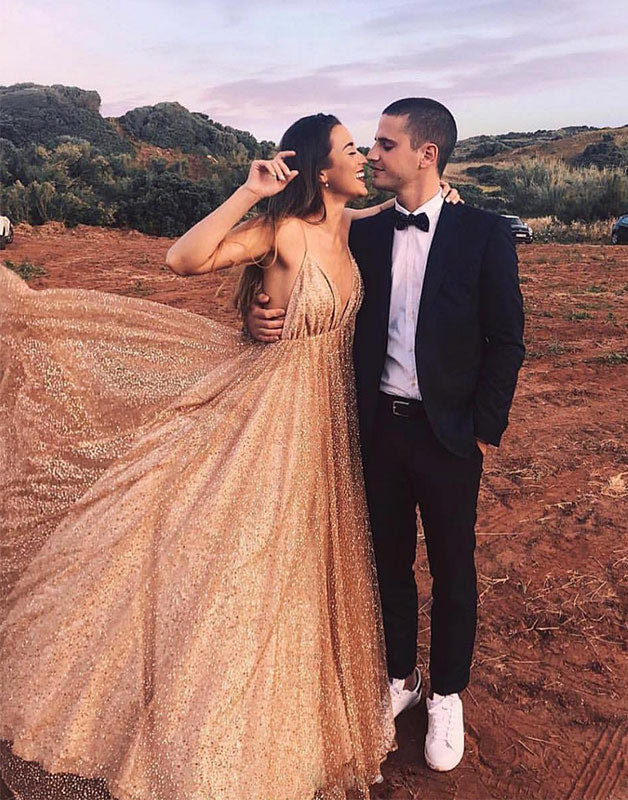 champagne tulle sequin long prom dress, champagne evening dress