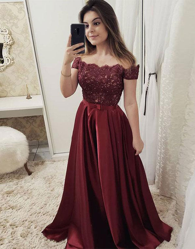 Burgundy off shoulder lace long prom dress, burgundy evening dress