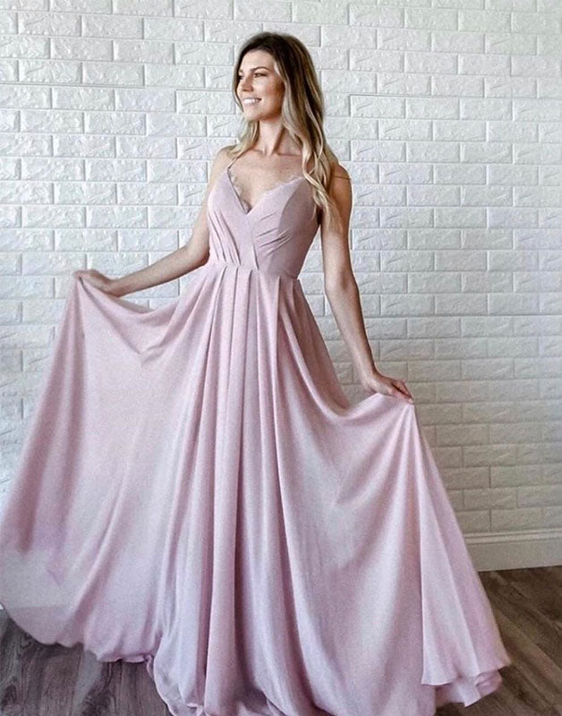 Simple v neck pink chiffon long prom dress pink evening dress