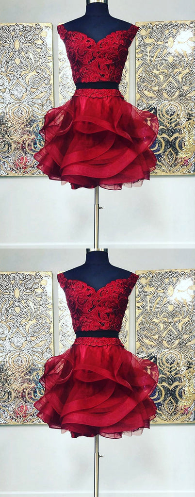 Burgundy lace off shoulder short prom dress burgundy lace evening dress