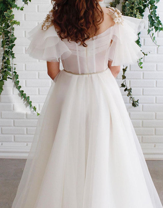 White round neck lace tulle long prom dress white lace evening dress