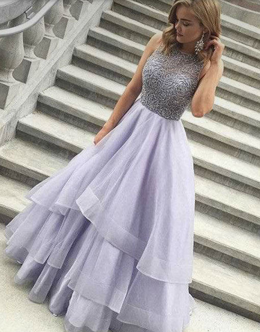 Cute round neck sequin long prom dress, tulle prom gown