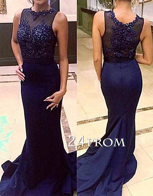 Dark blue mermaid lace long prom dress, bridesmaid dress