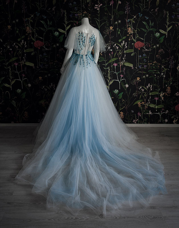 Unique blue tulle beads long prom dress tulle long evening dress