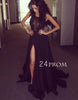Custom Made Round Neck Lace Black Long Prom Dress, Evening Dress