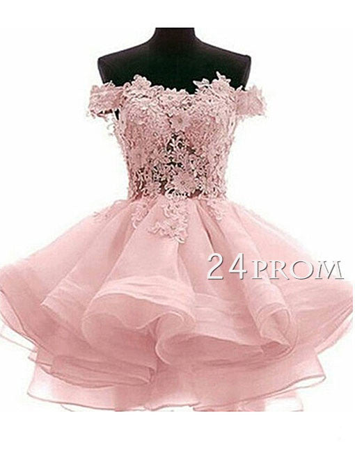 Sweetheart ball gown short lace pink prom dress