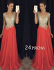 V Neck A-line Chiffon Sequin Red  Long Prom Dress, Evening Dress