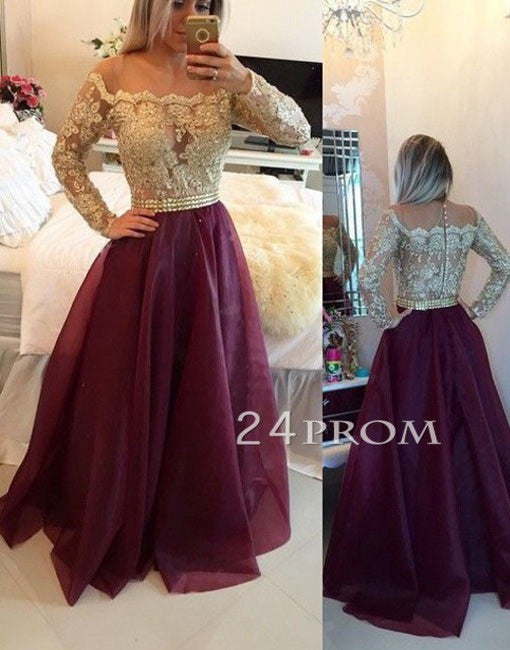 Pretty Lace burgundy long-sleeved Prom Dresses, Long Evening Dress