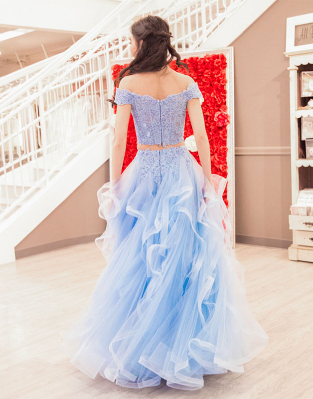 Blue two pieces lace tulle long prom dress, blue tulle evening dress