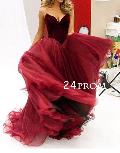 Custom made sweetheart tulle long red prom dress, evening dress