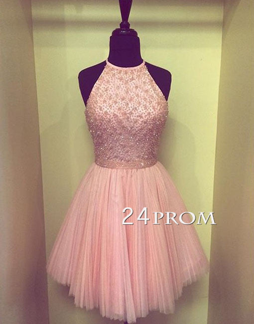 Custom Made Pink Tulle Sequin Short Prom Dresses, Homecoming Dress