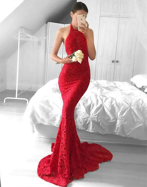 Simple red lace mermaid long prom dress, red lace evening dress