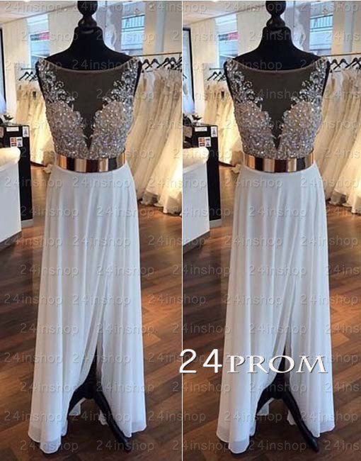 White A-line round neckline Chiffon Lace Prom Dresses, Formal Dress