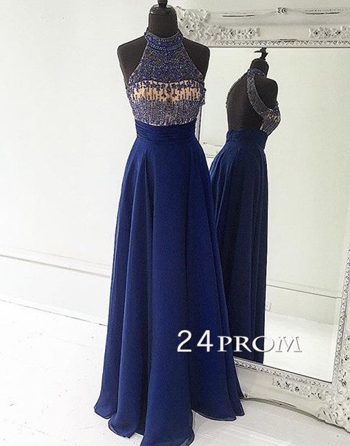 Deep Blue A-line Sequin Chiffon Long Prom Dresses, Formal Dresses