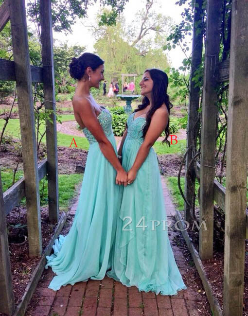 Custom Made A-line Sweetheart Sequin Green Long Prom Dress, Formal Dress