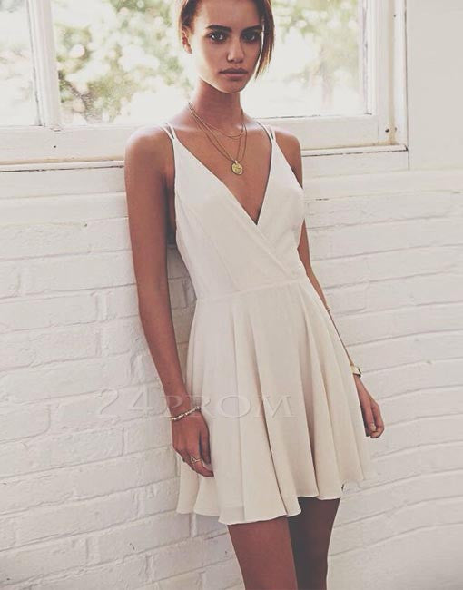Simple v neck white short prom dress, homecoming