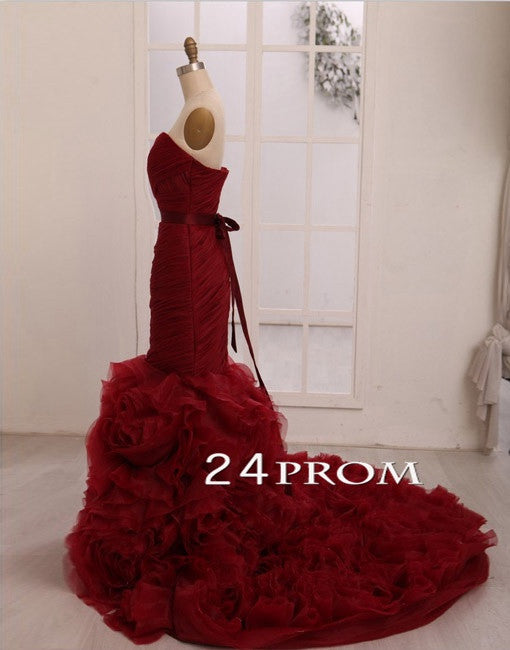Sweetheart Neck Wine Red Long Wedding Dresses, Wedding Gown