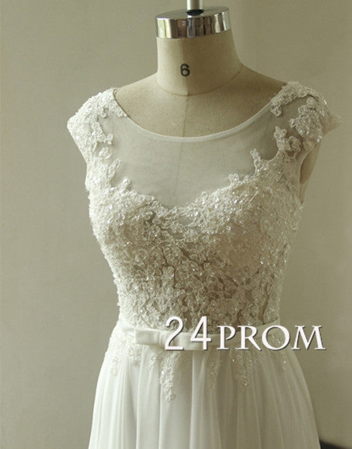 White A-line Round Neck Chiffon Lace Long Prom Dresses, Formal Dresses