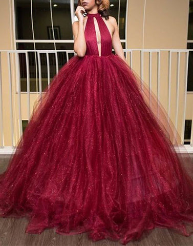 Unique burgundy backless prom dress, burgundy tulle evening dress