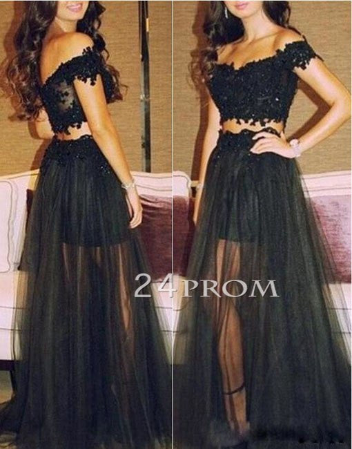Black Lace Tulle 2 Pieces Long Prom Dresses, Evening Dress